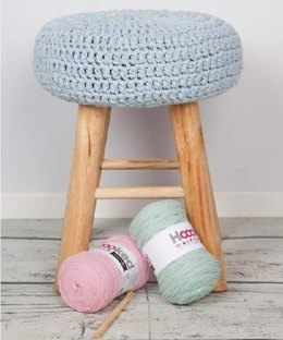 Crochet Footstool in Hoooked RibbonXL