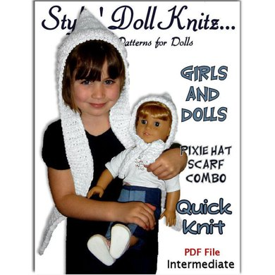 Girls And Dolls Hat Scarf Combo Pixie Style Fits American Girl And