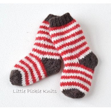 Simple Stripy Baby Socks Knitting Pattern By Little Pickle Knits
