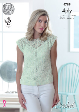 Crochet Top in King Cole Giza Cotton Sorbet - 4789