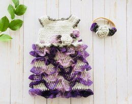 Crochet Baby Ruffled Dress and Headband