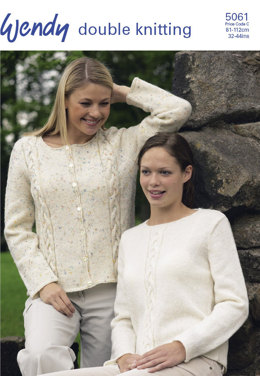 Sweater & Cardigan with Cabel Panel in Wendy Merino DK - 5061