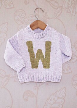 Intarsia Letter W, Chart, Childrens Sweater