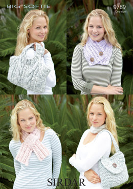 Sweater Bag, Satchel, Ribby Scarf and Neck Wrap in Sirdar Big Softie Super Chunky - 9789