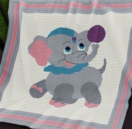CROCHET Baby Blanket Pattern - Circus Baby Elephant