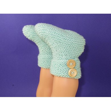 Easy Baby 2 Button Garter Stitch Booties