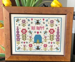 Historical Sampler Company Bee Happy Cross Stitch Kit - 24cm x 18cm