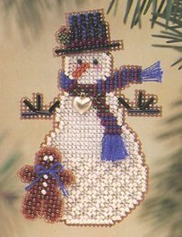 Mill Hill Gingerman Snow Charmer Cross Stitch Kit - 5cm x 7.5cm