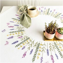 Rico Lavender Wreath Tablecloth Embroidery Kit (90 x 90 cm)