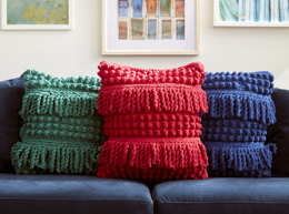 Bobble and Fringe Crochet Pillow in Bernat - Downloadable PDF