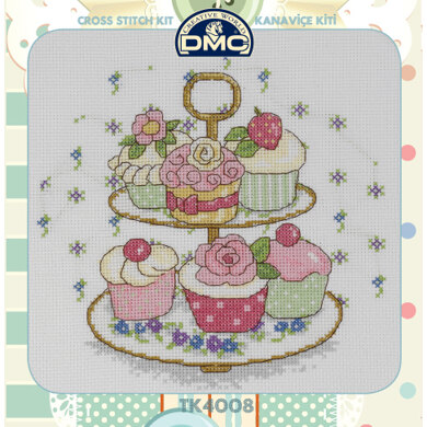 Creative World Of Crafts Afternoon Tea Cross Stitch Kit (with Sewing Tin) - 25cm x 25cm