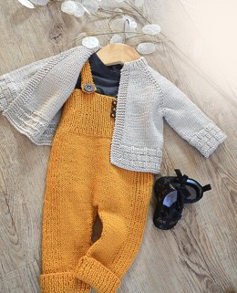 Tiny tots top down cardigan and overalls - P116
