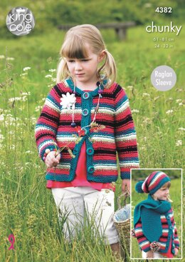 Dress, Cardigan, Hat and Scarf in King Cole Chunky - 4382 - Downloadable PDF
