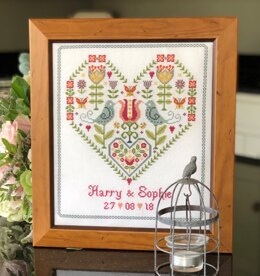 Historical Sampler Company Scandi Heart Wedding - 24cm x 28cm