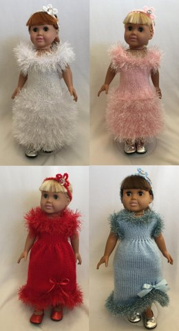 Holiday Evening Gowns, Knitting Patterns fit American Girl and other 18-Inch Dolls