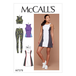 McCall's Misses'/Women's Paneled Bra, Top, Dress, and Leggings M7578 - Sewing Pattern