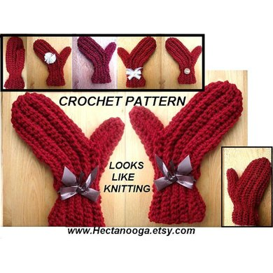 120 sideways mittens, crochet pattern, AGE 2 TO ADULT