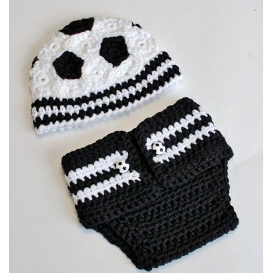 Newborn Soccer Hat And Diaper Cover Prop Pattern Crochet Pattern By