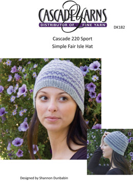 Simple Fair Isle Hat  in Cascade 220 Sport - DK182