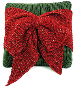 Christmas Bow Pillow in Caron Simply Soft - Downloadable PDF