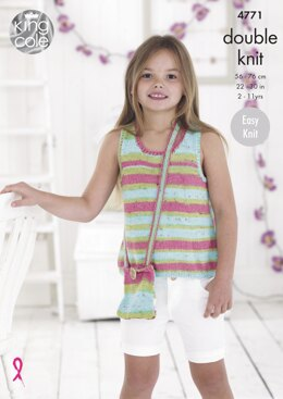 Girls' Tops in King Cole Cottonsoft Crush & Cottonsoft DK - 4771 - Downloadable PDF