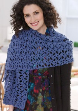 Romantic Lacy Shawl in Red Heart Soft Solids - LW2586