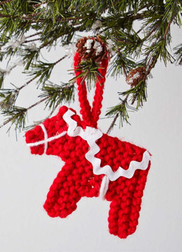 Dala Horse Ornament in Caron Simply Soft - Downloadable PDF