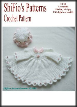 Crochet Pattern baby dress and hat UK & USA Terms #48