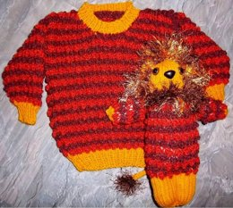 Child's Snazzy Sweater & Toy Lion Set