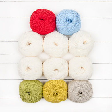 Katia Merino 100% Winifred Baby Blanket by Little Doolally - 11 Ball Colour Pack
