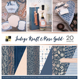 "American Crafts DCWV Double-Sided Cardstock Stack 12""X12"" 20/Pkg - Indigo Kraft & Rose Gold, 10 Des/2 Each"