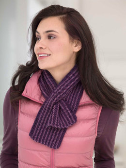 Striped Keyhole Scarf in Lion Brand Vanna's Choice - L40035