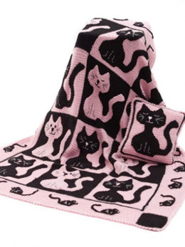 Cat & Mouse Throw & Pillow in Caron Simply Soft - Downloadable PDF
