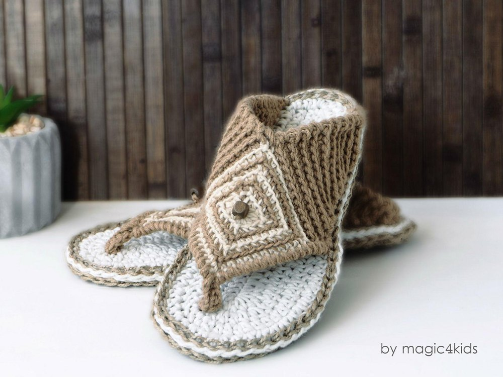 Thong Sandals With Rope Soles Crochet Pattern By Magic4kids