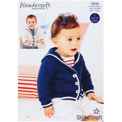 Baby Girl's Sailor Jacket in Stylecraft Wondersoft DK - 8938