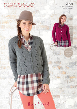 Round Neck and V Neck Cardigans in Hayfield  DK with Wool - 7058