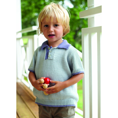 """Polo Shirt"" : Knitting Pattern for Boys in Debbie Bliss DK 