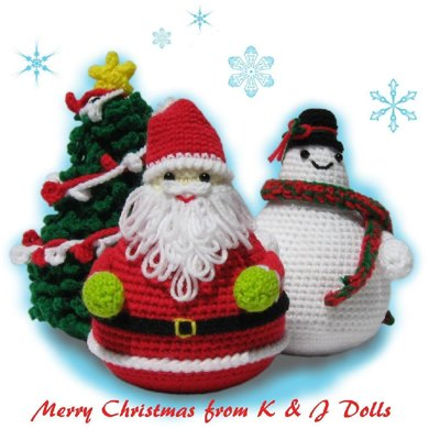Santa Claus, Snowman and Christmas Tree Amigurumi Crochet Pattern