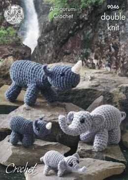 Mother, Baby Elephants & Rhinos in King Cole Merino DK - 9046 - Downloadable PDF
