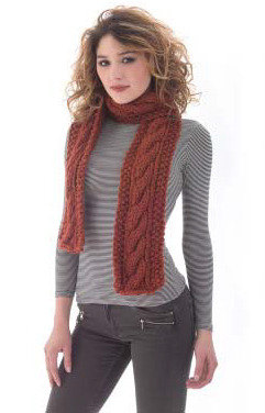 Favorite Classic Cabled Scarf in Lion Brand Wool-Ease Thick & Quick - L40179