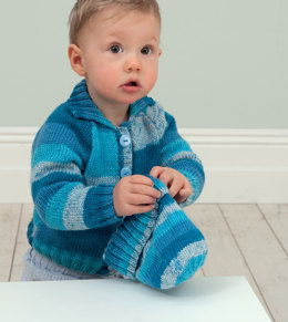 Baby Cardigan with Collar or Hood & Hat in Rico Baby So Soft Print DK - 218 - Downloadable PDF
