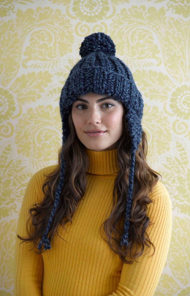 Ribbed Earflap Hat In Lion Brand Wool Ease Thick Amp Quick
