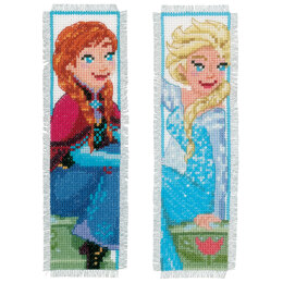 Vervaco Counted Cross Stitch Kit: Bookmarks: Disney: Frozen - Sisters Forever (Set of 2) - 6 x 20cm