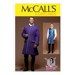 McCall's Men's Three-Quarter-Length Coat and Vest Costume M7585 - Sewing Pattern