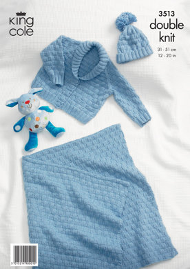 Baby Blanket, Hat and Jacket in King Cole Cottonsoft DK - 3513