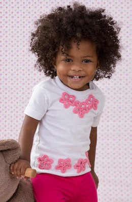 Baby Tee Flower Appliques in Red Heart Baby Sheen Solids - LW4137 - Downloadable PDF