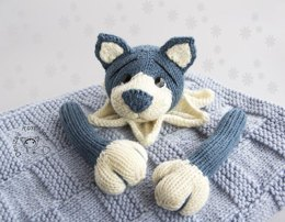 Navy Blue Puppy Toy Baby Blanket