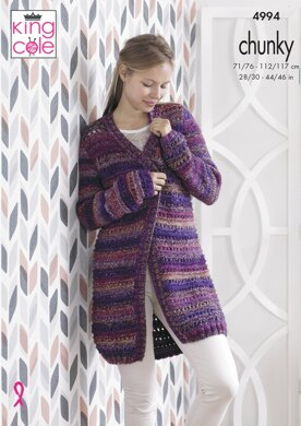 Short & Long Cardigans in King Cole Corona Chunky - 4994 - Downloadable PDF