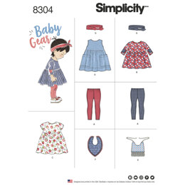 Simplicity Babies', Leggings, Top, Dress, Bibs and Headband in thress sizes S(17in) M(18in) L(19in) 8304 - Paper Pattern, Size A (XXS-XS-S-M-L)