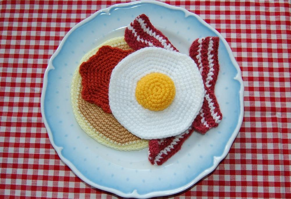 Amigurumi Fried Egg Pattern : Crochet Pattern for Pancake with Bacon, Fried Egg & Syrup ...